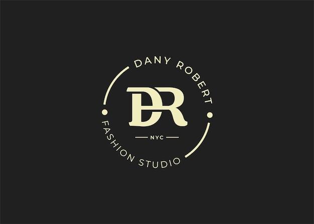 Początkowe ilustracje szablonu projektu logo litery dr