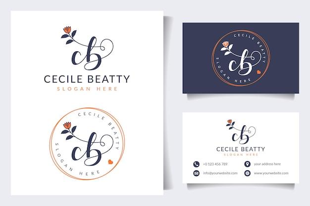 Początkowe kolekcje kobiecego logo cb z szablonem wizytówki