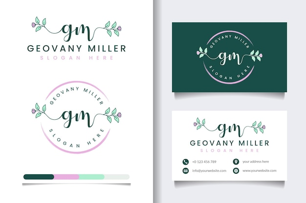 Początkowe kolekcje kobiecego logo gm z szablonem wizytówki