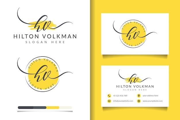 Początkowe kolekcje kobiecego logo hv z szablonem wizytówki