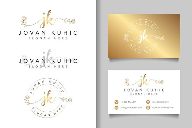 Początkowe kolekcje kobiecego logo jk z szablonem wizytówki