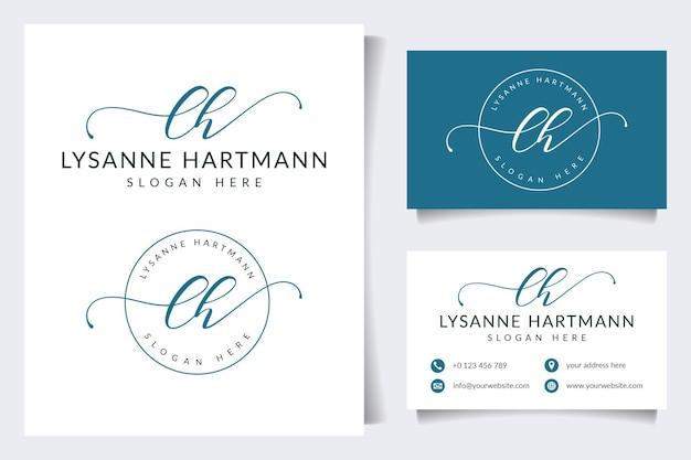 Początkowe kolekcje kobiecego logo lh z szablonem wizytówki
