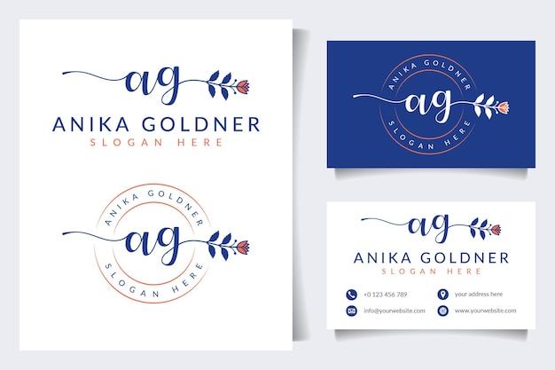 Początkowe Kolekcje Kobiecych Logo Ag Z Szablonem Wizytówki Premium Wektorów