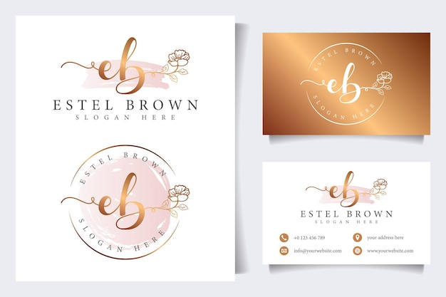 Początkowe kolekcje kobiecych logo eb z szablonem wizytówki