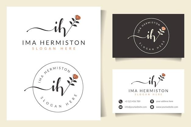 Początkowe kolekcje kobiecych logo ih z szablonem wizytówki