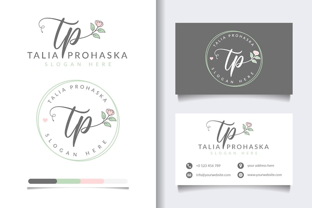 Początkowe kolekcje kobiecych logo tp z szablonem wizytówki
