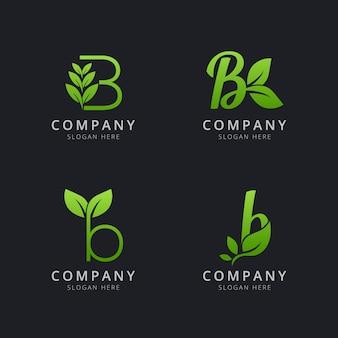 Początkowe logo b z elementami liści w kolorze zielonym