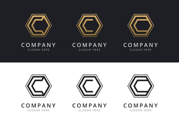 Początkowe logo c w kształcie sześciokąta w kolorze złotym i czarnym