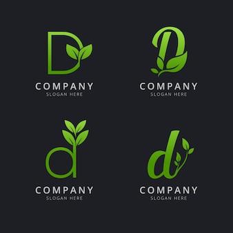 Początkowe logo d z elementami liści w kolorze zielonym