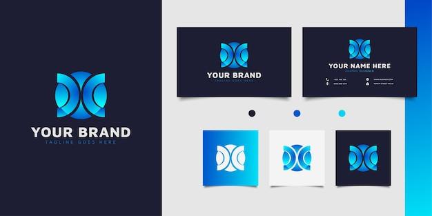 Początkowe logo doc lub coc z nowoczesną koncepcją w niebieskim gradiencie