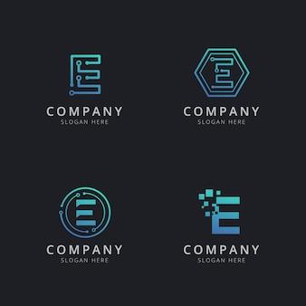Początkowe logo e z elementami technologii w kolorze niebieskim
