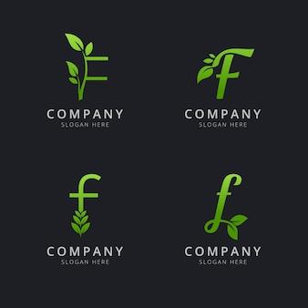 Początkowe logo f z elementami liści w kolorze zielonym