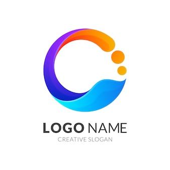 Początkowe logo litery c z kolorowym