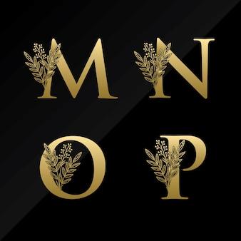 Początkowe logo litery mnop z prostym kwiatkiem w kolorze złotym