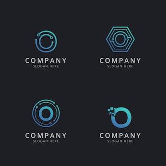 Początkowe logo o z elementami technologii w kolorze niebieskim