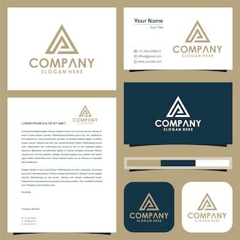 Początkowe logo pa trójkąt i wizytówka