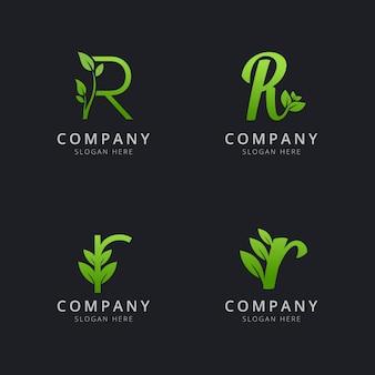 Początkowe logo r z elementami liści w kolorze zielonym