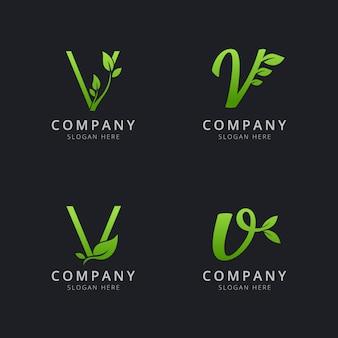 Początkowe logo v z elementami liści w kolorze zielonym