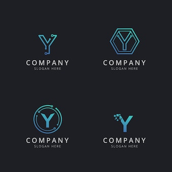 Początkowe logo y z elementami technologii w kolorze niebieskim