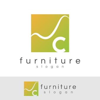 Początkowe meble litera c projektowanie logo
