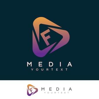 Początkowe media litera f projektowanie logo