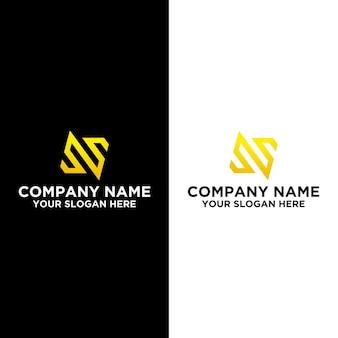 Początkowe n lub s w złotym szablonie projektów logo premium wektorów