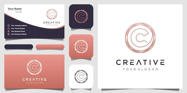 Początkowe pismo odręczne litery c z szablonem elementu koła kreatywna moda uroda lub odzież