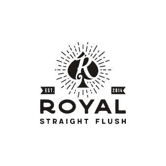 Początkowe r dla royal flush spade poker karta do gry vintage retro logo