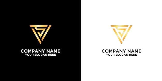 Początkowe s w szablonie projektów logo złotego trójkąta premium wektorów