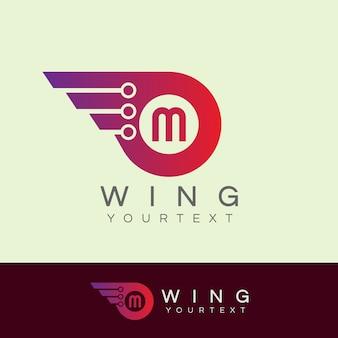 Początkowe skrzydła robota litera m projekt logo