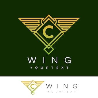 Początkowe skrzydło litera c logo projektu