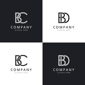 Początkowe szablony logo litery bc bd
