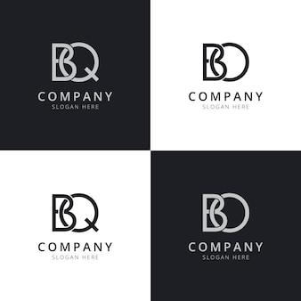 Początkowe szablony logo litery bq bo