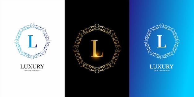 Początkowy alfabet litery l z luksusowym ornamentem kwiatowy szablon logo ramki.
