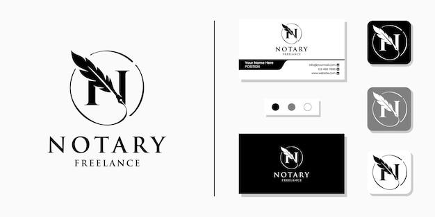 Początkowy list logo notariusza i szablon projektu wizytówki