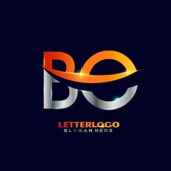 Początkowy logotyp bo z literą swoosh dla logo firmy i biznesu.