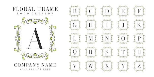 Początkowy monogram logo z kwiatowymi ornamentami