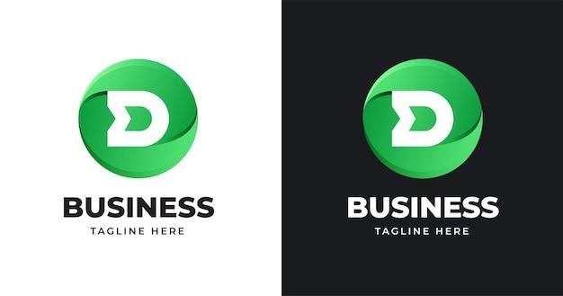 Początkowy projekt litery d logo w kształcie koła