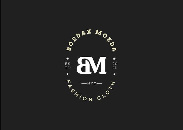 Początkowy szablon projektu logo list bm, styl vintage, ilustracje wektorowe