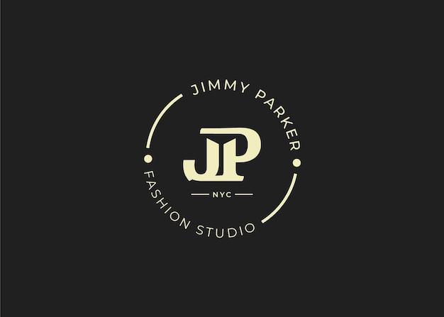 Początkowy szablon projektu logo list jp, styl vintage, ilustracje wektorowe