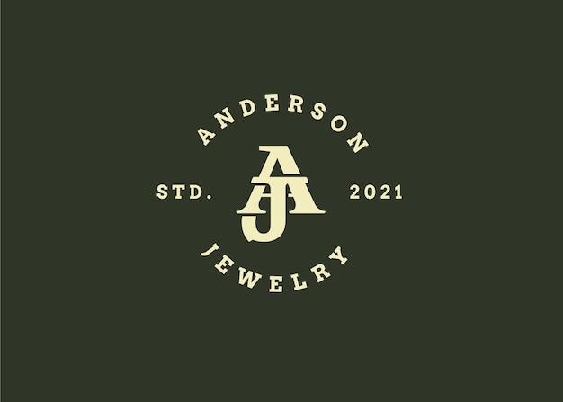 Początkowy szablon projektu logo litery aj, styl vintage, ilustracje wektorowe