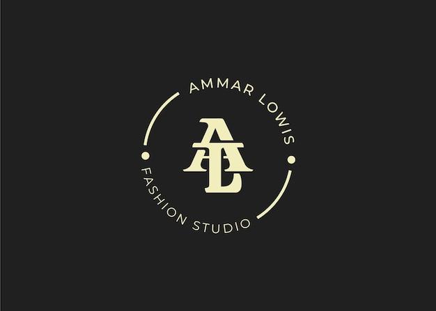 Początkowy szablon projektu logo litery al, styl vintage, ilustracje wektorowe