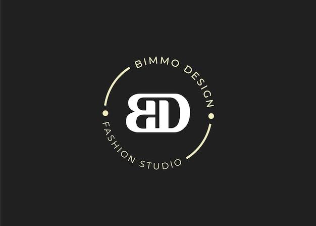 Początkowy szablon projektu logo litery bd, styl vintage, ilustracje wektorowe