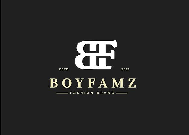 Początkowy szablon projektu logo litery bf, ilustracje wektorowe