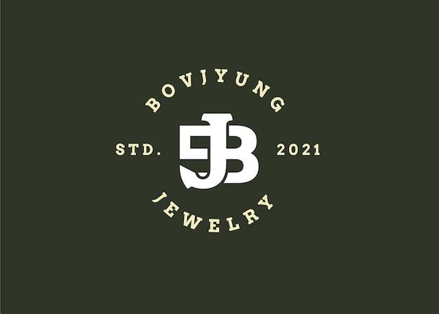Początkowy szablon projektu logo litery bj, styl vintage, ilustracje wektorowe