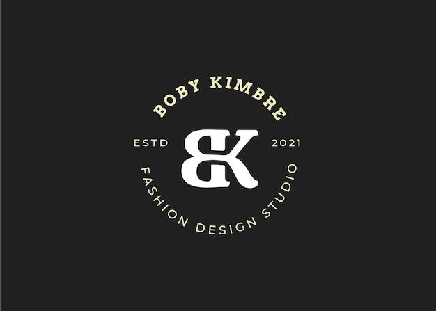 Początkowy szablon projektu logo litery bk, styl vintage, ilustracje wektorowe