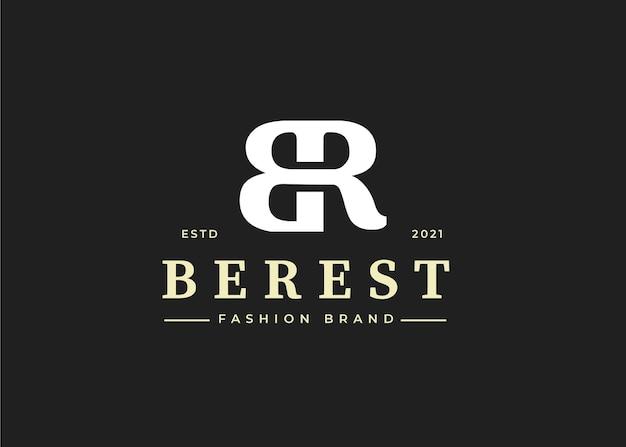 Początkowy szablon projektu logo litery br, ilustracje wektorowe