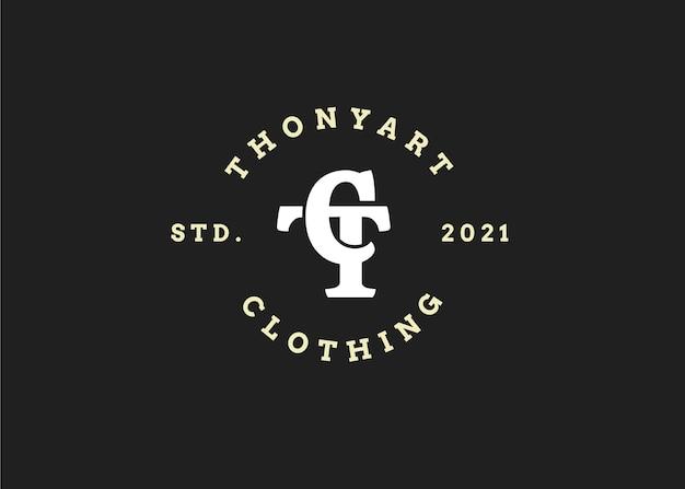 Początkowy szablon projektu logo litery ct, styl vintage, ilustracje wektorowe