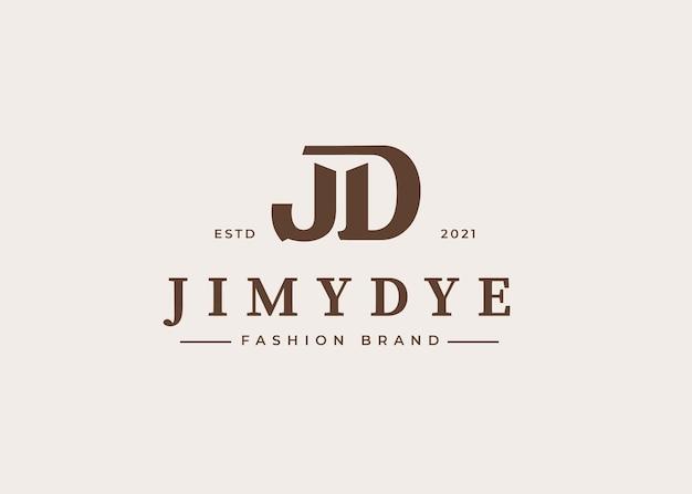 Początkowy szablon projektu logo litery jd, ilustracje wektorowe
