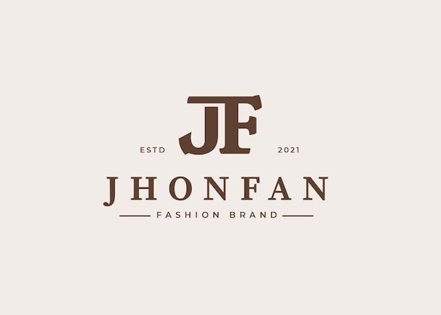 Początkowy szablon projektu logo litery jf, ilustracje wektorowe